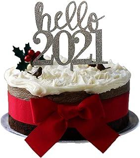 Cake Topper Glitter Hello 2021 Plata - Letrero para pastel - Fiesta sorpresa - Compromiso - Boda - Engagement