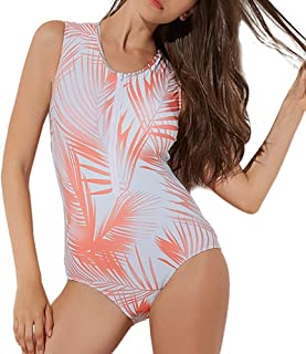 Zhicaikeji Combinaison de surf pour femme sans manches avec fermeture éclair sur le devant pour les vacances, la plage (co...