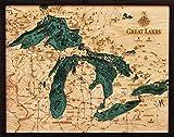 Great Lakes 3-D Nautical Wood Chart, 24.5' x...