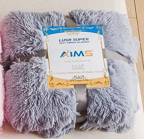 Lush Superweiche Decke Kunstfell Zotteldecke mit Kristall-Fleece auf der Rückseite, kuschelig, flauschig, lang, flauschig, für Sofa, Couch & Bett, Dekor, doppelschichtig (grau, doppelt)