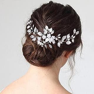 Chicer - Diadema para tocado de novia y dama de honor, diseño floral, color plateado