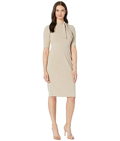 Donna Morgan 3/4 Sleeve Side Tie Neck Sheath Crepe Dress (Taupe) Women