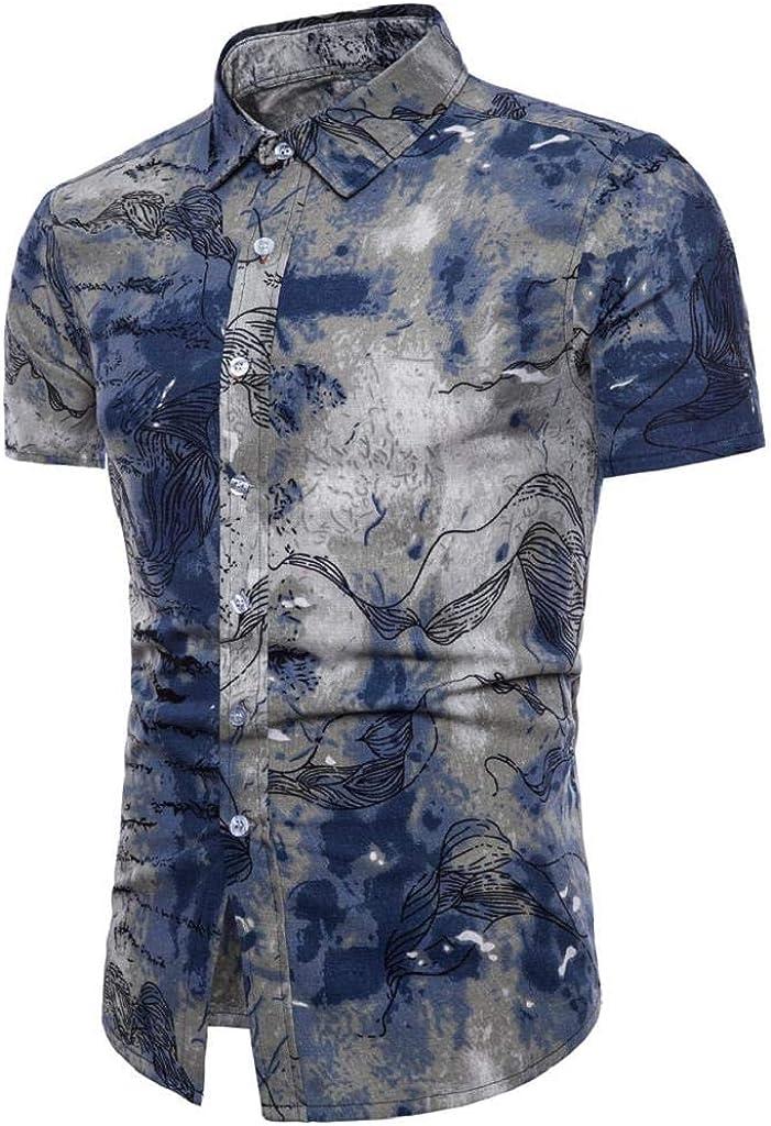 Camisetas Hombre Manga Corta, SHOBDW Estampado Floral Verano ...