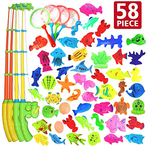 AUUGUU Outdoor Toys 58 Pcs Fishing Magnets Game 4 Poles, Nets & 50 Floating Fishes for Toddlers Age 3-5, Best Toy for Kiddie Pool Water Table Outside, Bath Toys for Bathtub