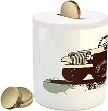 Lunarable Grunge Piggy Bank, Retro Pop Art Style Vintage Car Jeep on The Road Adventure Graphic Design, Ceramic Coin Bank Money Box for Cash Saving, 3.6