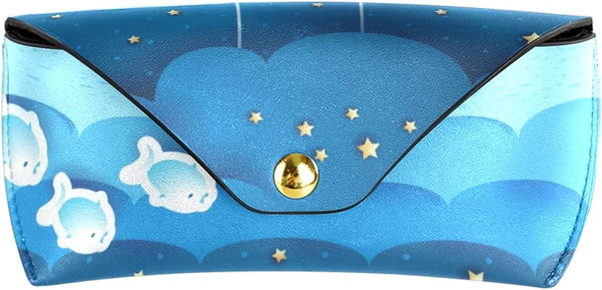 Multiuse Holder Cartoon Fish Moon Star Portable Sunglasses Case Eyeglasses Pouch PU Leather Goggles Bag