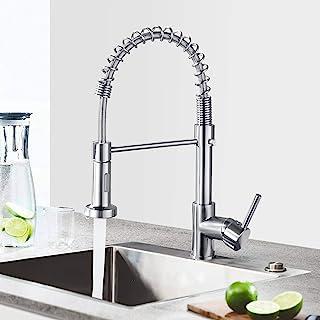 Küchenarmatur Wasserhahn mit Brause, 360° schwenkbar Spültischarmatur, Mischbatterie aus Edelstahl, Einhebelmischer Spültischbatterie Silber