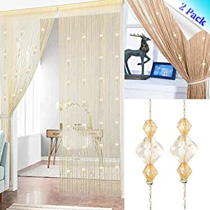 Timere Crystal Beaded Curtain Tassel Curtain - Partition Door Curtain Beaded String Curtain Door Screen Panel Home Decor Divider Crystal Tassel Screen 90x200cm (2 Pack, Champagne-B)