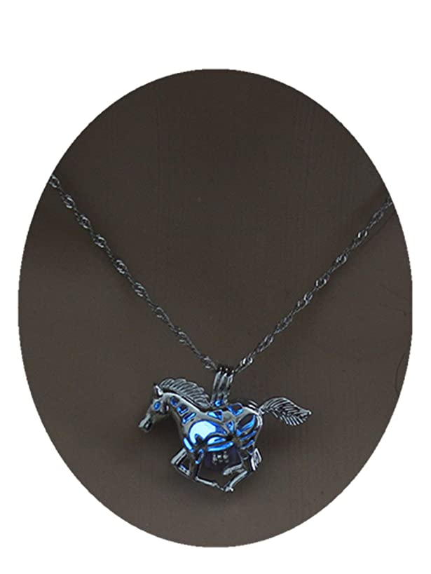 Glowing Racing Horse Necklace Horse Lover Gift Silver Horse Barrel Racing Animal Running Horse Rodeo Equestrian Gift Ideas