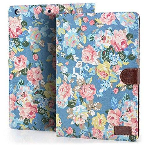 Custodia per iPad Air, Deenor Retro Flowers Design Flip Custodia PU Pelle Stand Custodia Cover per Apple iPad Air (2013 Version).(Blue Flowers)