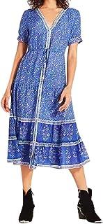 COZOCO Vestido de Falda Pastel de Capas Vestido Estampado Bohemio de Las Mujeres