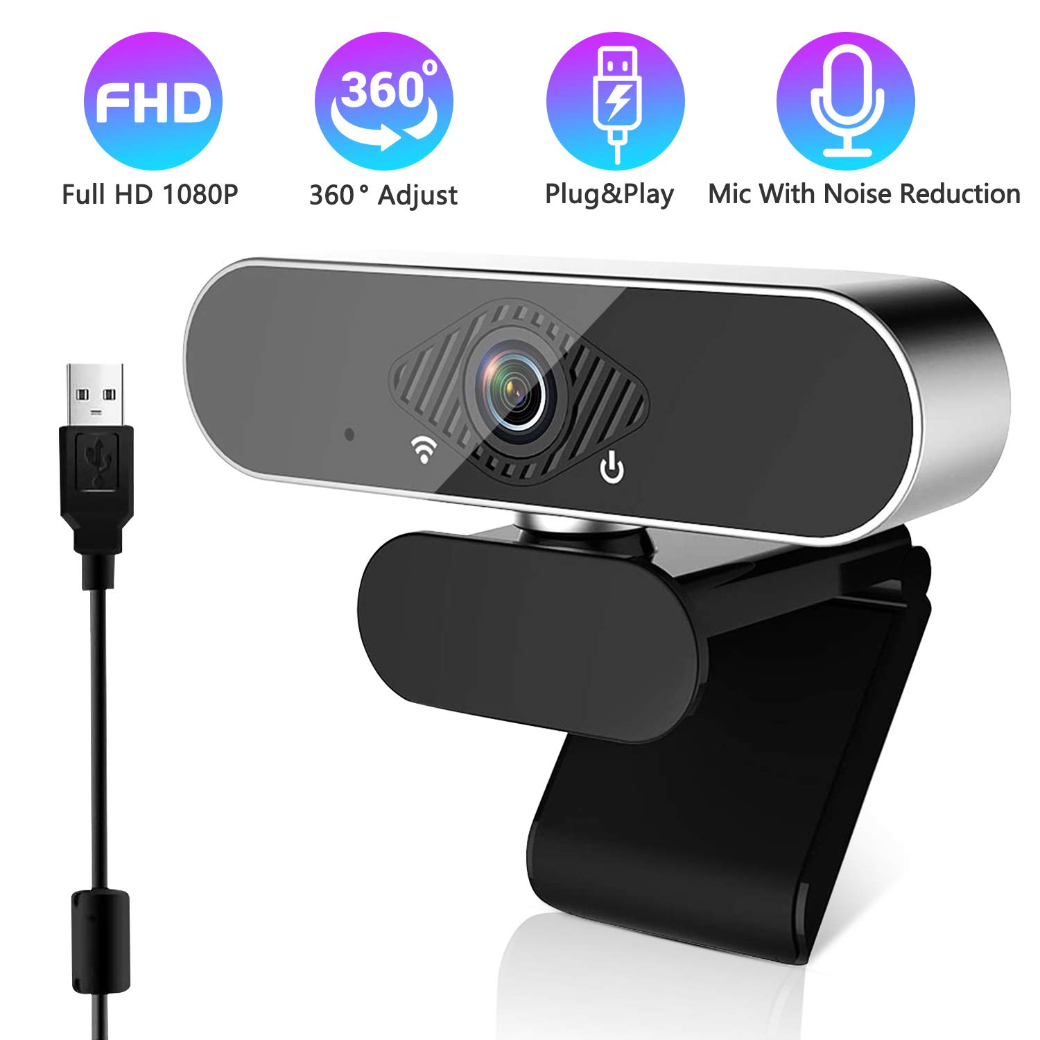 1080P Webcam with Microphone USB Webcams 360 °Rotation for Desktop Wide Angle 110 Degree Computer Cameras Webcameras for Laptop Compatible with Windows Mac Android TV Facebook
