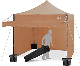 Finfree 10x10 FT Pop Up Canopy Tent Commercial Instant Canopy with Awning, Roller Bag, 6 Walls and Weight Bags, Brown