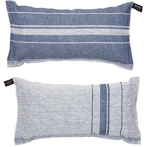 JOKIPIIN | Saunakkussen en reiskussen LINEA, linnen natuur/donkerblauw, sauna accessoires made in Finland