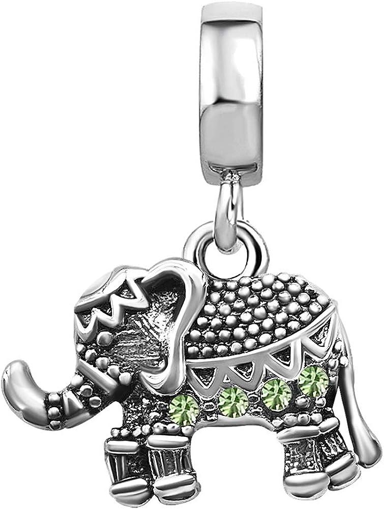 TGLS Kansas City Mall Women Girls Lucky Animal Birthstone Jan-Dec security Charm Elephant