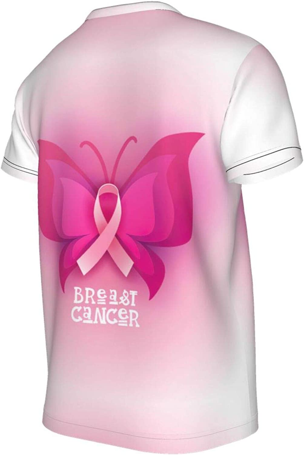 Pink Ribbon Butterfly Breast Cancer Awareness Boys' Girls' T-Shirts,Thletic Performance Short Sleeve Graphic Sports Tees