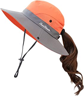 a0c106eaeac84 Muryobao Women s Summer Mesh Wide Brim Sun UV Protection Hat with Ponytail  Hole