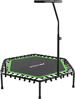 ANCHEER 50'' Fitness Trampoline, Silent Mini Trampoline with Adjustable Handrail, Indoor Rebounder for Adults and Kids, Perfect Urban Cardio Workout Home Trainer, Bungee Rope System, Max Load 220 lb