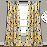 "Lush Decor, Yellow and Blue Tania Curtains | Floral Garden Room Darkening Window Panel Set for Living, Dining, Bedroom (Pair), 84"" x 52, 84' x 52'"