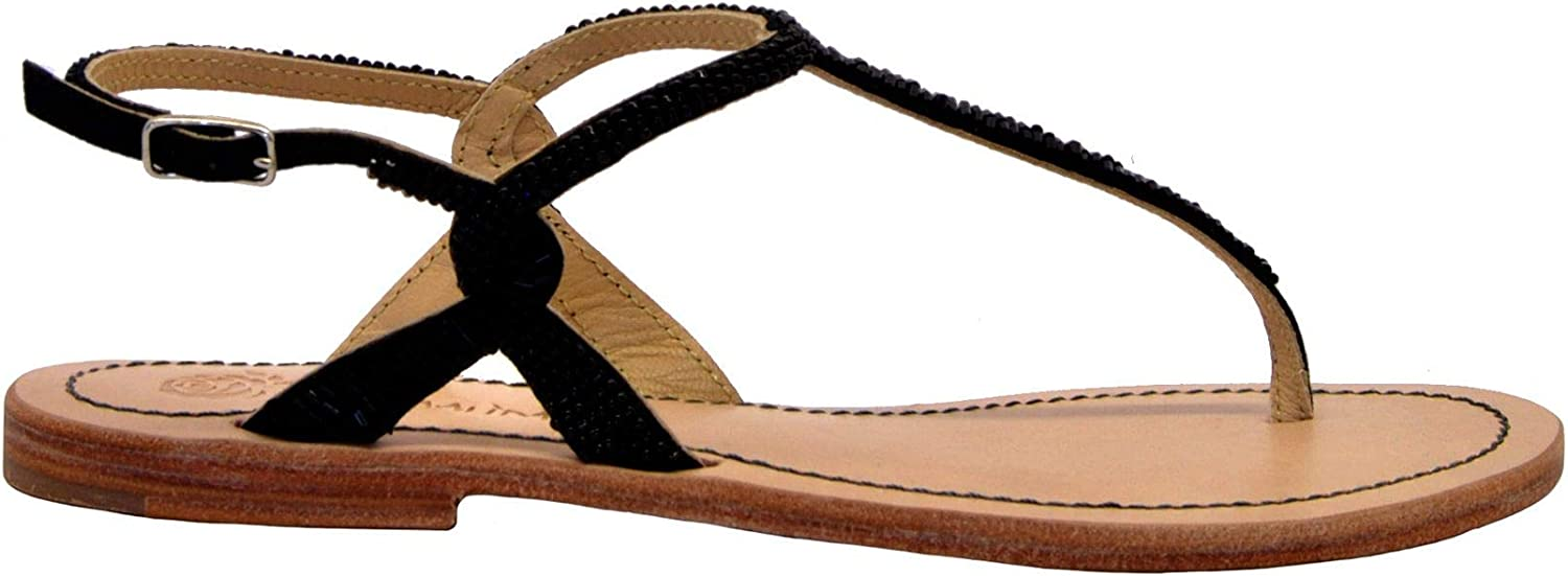 MALìPARMI Women's SA00699106920000 Black Leather Sandals