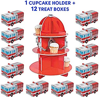 Fire Hydrant Cupcake Holder Stand plus 12 Fire Truck Treat Boxes for Boys and Girls | Firefighter Party Table Decorations | Birthday Party Supplies