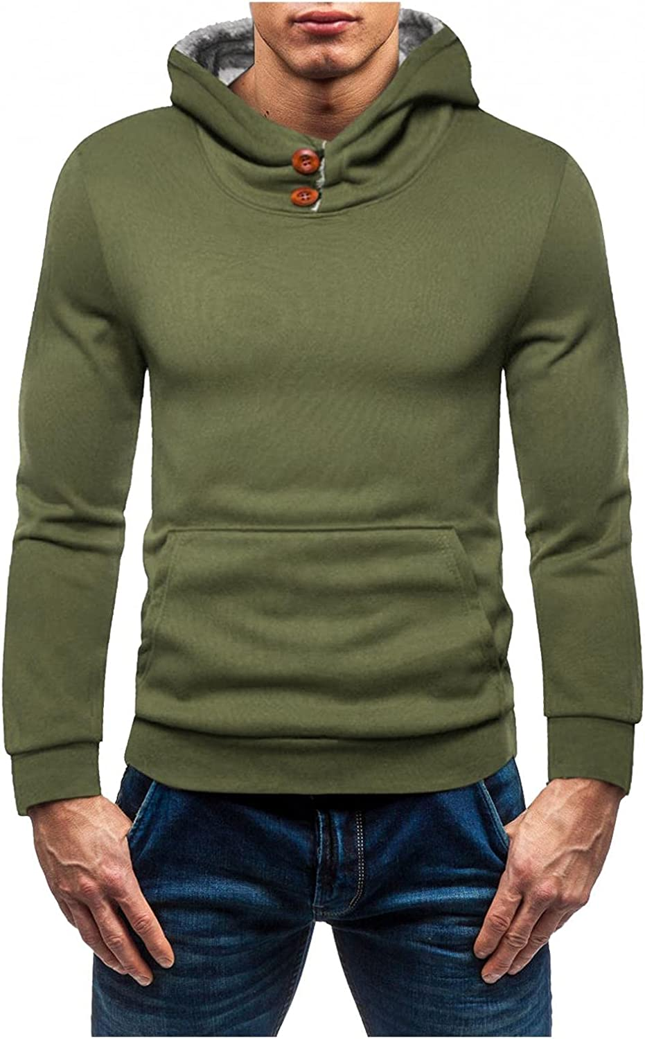 Mens Hoodies Pullover Big and Tall Co Fit Inexpensive 55% OFF Solid Sleeve Long Slim