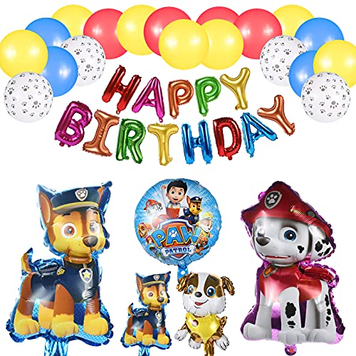 Decoration Anniversaire, Pat Patrouille Ballons de Baudruche Pat Patrouille Bannière Anniversaire, Paw Dog Patrol Ballons en Aluminium Décoration de Fête d'anniversaire pour Enfants