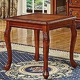 CESULIS Silla de comedor de madera maciza europea suave, sillón tallado de cuero americano, silla de negociación de hotel de gama alta, mesa Mahjong de ocio (color verde militar)