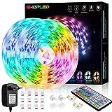 Tira LED 12M, SHOPLED RGB SMD 5050 Luces LED Kit de Cambio de Color con Control Remoto de 44 Teclas y Fuente de Alimentación, para Dormitorio, Cocina, TV, Fiesta, Decorativas Habitacion
