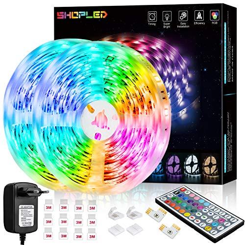 Tira LED 12M, SHOPLED RGB SMD 5050 Luces LED Kit de Cambio de Color con Control Remoto de 24 Teclas y Fuente de Alimentación, para Dormitorio, Cocina, TV, Fiesta, Decorativas Habitacion