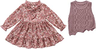 Fairy-Baby Toddler Girls 2-pc Autumn and Winter Outfit Long Sleeve Floral Dress with Matching Sweater Vest