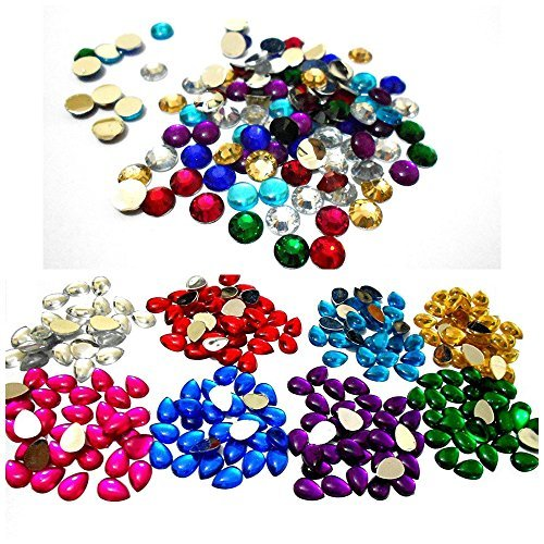 Am Colorful Kundan Stones Round And Drop Shape Combo For Jewellery Making