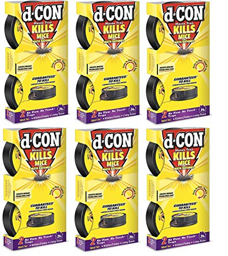 D-Con No View, No Touch Covered Mouse Trap, 6 Pack (2 Traps Each) (Packaging may vary)