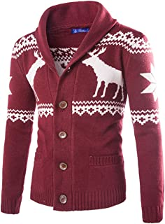 Men's Casual Christmas V-Neck Cardigan Sweaters Reindeer Pattern Stand Collar Wool Knit Coat
