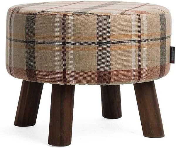卡尔 Artbay 木制脚凳米色红色格子亚麻实木鞋凳客厅脚凳圆凳家用