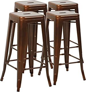 Mimo Life Metal Modern Barstool Set of 4 Backless Indoor Outdoor Stackable Bar Stools with Square