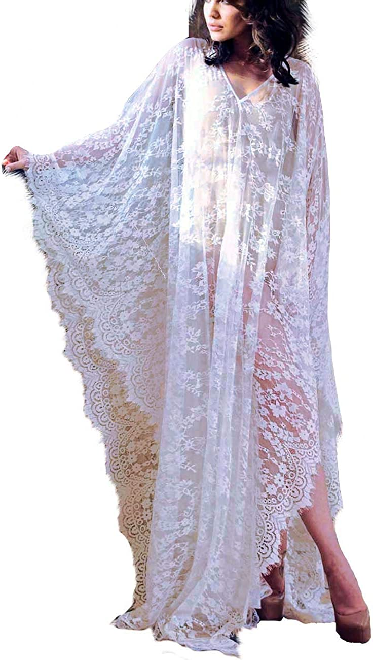 Bikini Cover up Robe Women Boho Beach Wears Black Eyelash Lace Soft Thin Oversized Bikini Kimono