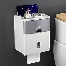 Toiletrolhouder, zelfklevende toiletpapierdispenser, met telefoonplank, wandmontage, toiletpapierhouder-grijs