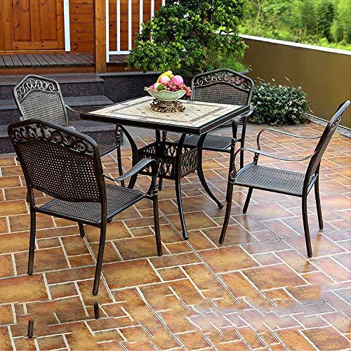 DYYD Juegos de Muebles de jardín Mesa y sillas Fuera Bistro Juego de Mesa, Patio al Aire Libre Set 5 Tabla Pieza y Sillas