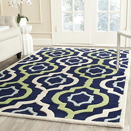 Safavieh Chatham Collection CHT747C Handmade Dark Blue and Multi Premium Wool Square Area Rug (3' Square)