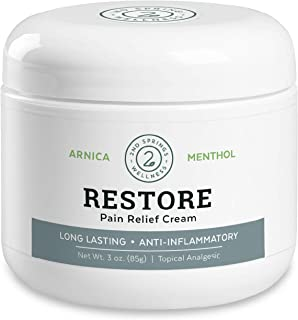 2nd Springs Restore Pain Relief Cream [3oz] with Arnica Montana, Menthol, MSM, Tea Tree Oil, Ilex. Inflammation Relief For...