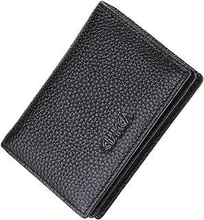 Creative Bi-fold Purse Genuine Leather Wallet Multi-card Buckle Zipper Wallet for Men Black