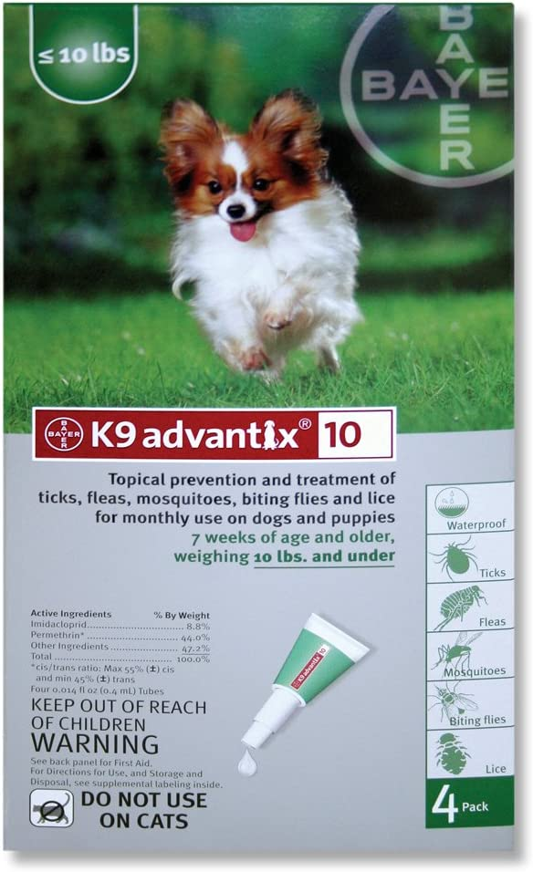 Amazon Com K9 Advantix Flea Control For Dogs 0 To 10 Pounds 6 Applications Pet Flea Drops Pet Supplies