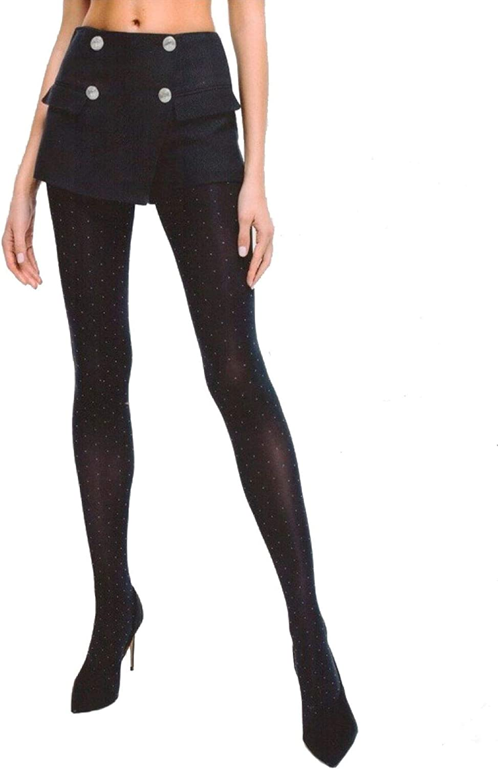 Conte Tights with Polka Dot Pattern Opaque Pantyhose Point 50 Den, Black (Nero), Large