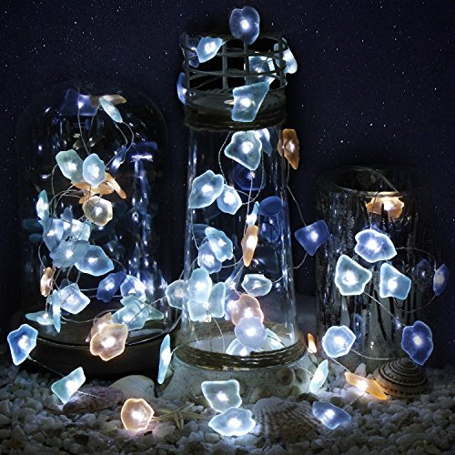 Impress Life Decorative String Lights, Sea Glass Festive Beach Themed 10 ft 40 LEDs Battery&USB Cord Operated Eco-Friendly with Multi-Function Remote for Tent Wedding Nursery Bedroom Party Ornament 4