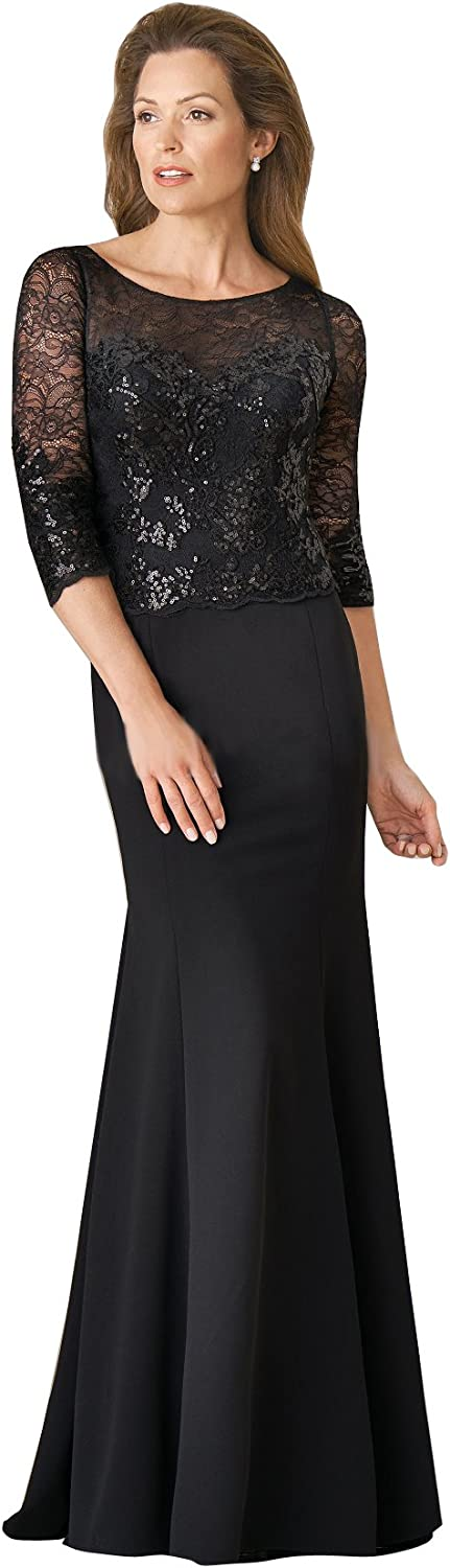 Kelaixiang Women's Sequin Lace Top Mother of The Bride A Line Dress