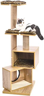 PAWZ Road 48 Inch Multi-Level Cat Tree Modern Cat Tower Featuring with Double Condos and Sturdy Scratching Posts for Large Cats Beige