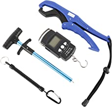 NovelBee 4 in 1 Fishing Tools with Fish Hook Remover,Fishing Gripper,Spring Lanyard and Handheld Digital Fish Scale