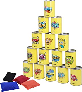 iBaseToy Party Games for Kids & Adults, Carnival Games Bean Bag Toss Games for Birthday Party, Halloween Toss Games Tin Can Alley -15 Tin Cans and 4 Beanbags Included