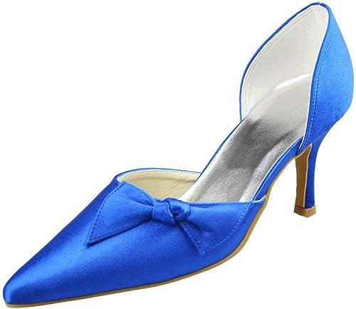 ZHRUI Filles Filles Femmes Noeud Slip-on Satin Mariage Nuptiale Soirée Formelle Pompes Chaussures (Couleuré   bleu-7.5cm Heel, Taille   9 UK)  Envoi gratuit pour toutes les commandes